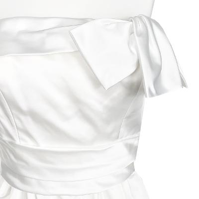 off shoulder ribbon dress white